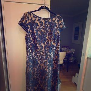 Tadashi Soji formal floor length gown, navy blue
